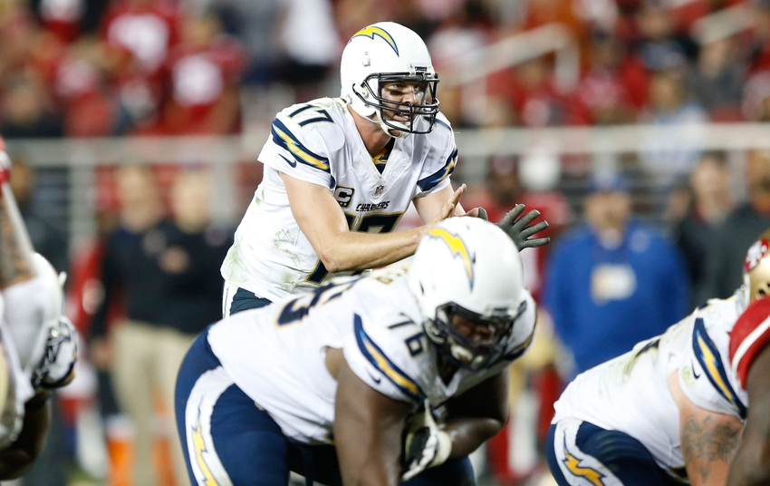Dec 20, 2014; Santa Clara, CA, USA; San Diego Chargers quarterback Philip Rivers (17) at the line during overtime against the San Francisco 49ers at Levi's Stadium. Charges won 38-35 in overtime. Mandatory Credit: Bob Stanton-USA TODAY Sports