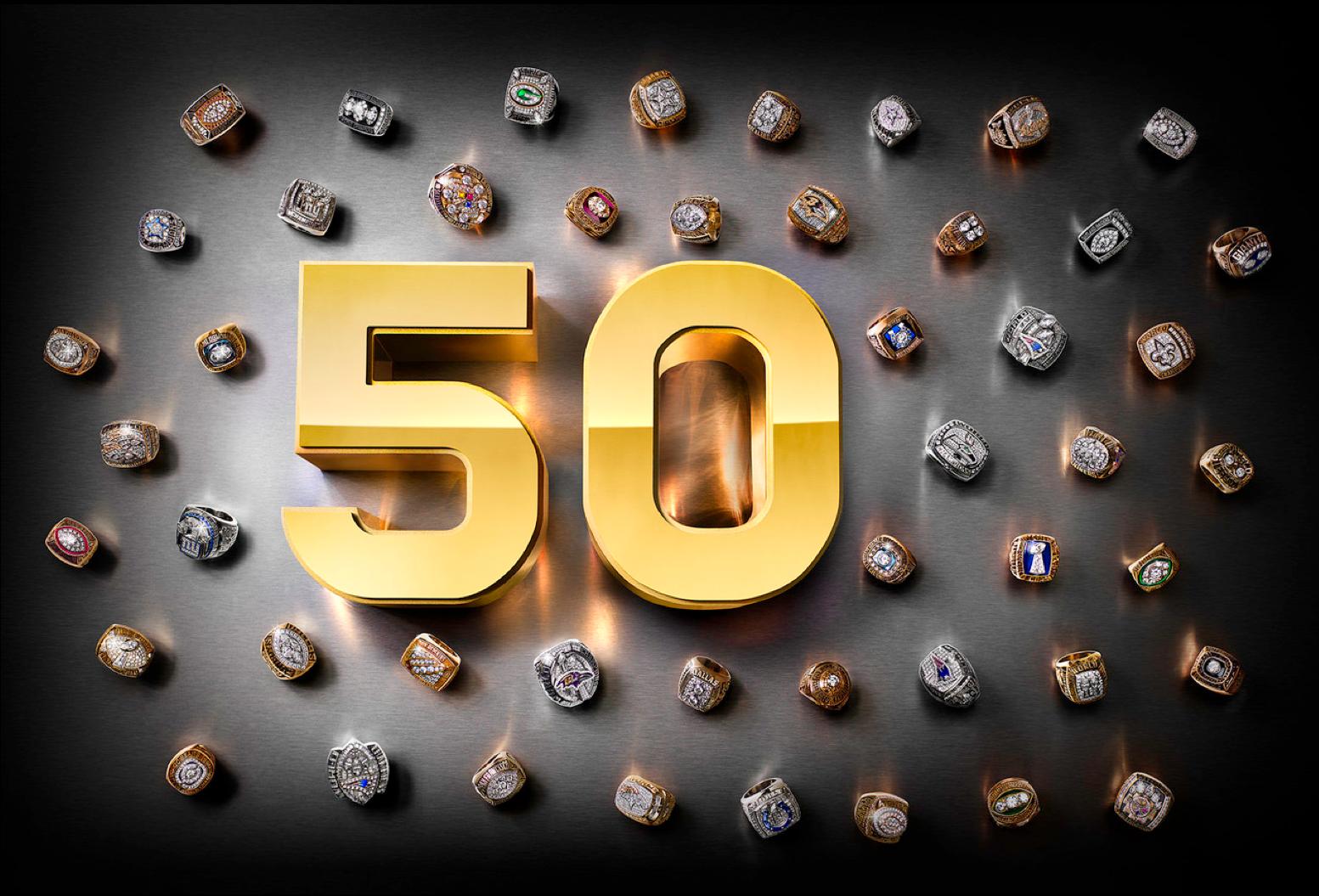 12-Super Bowl Rings-50th