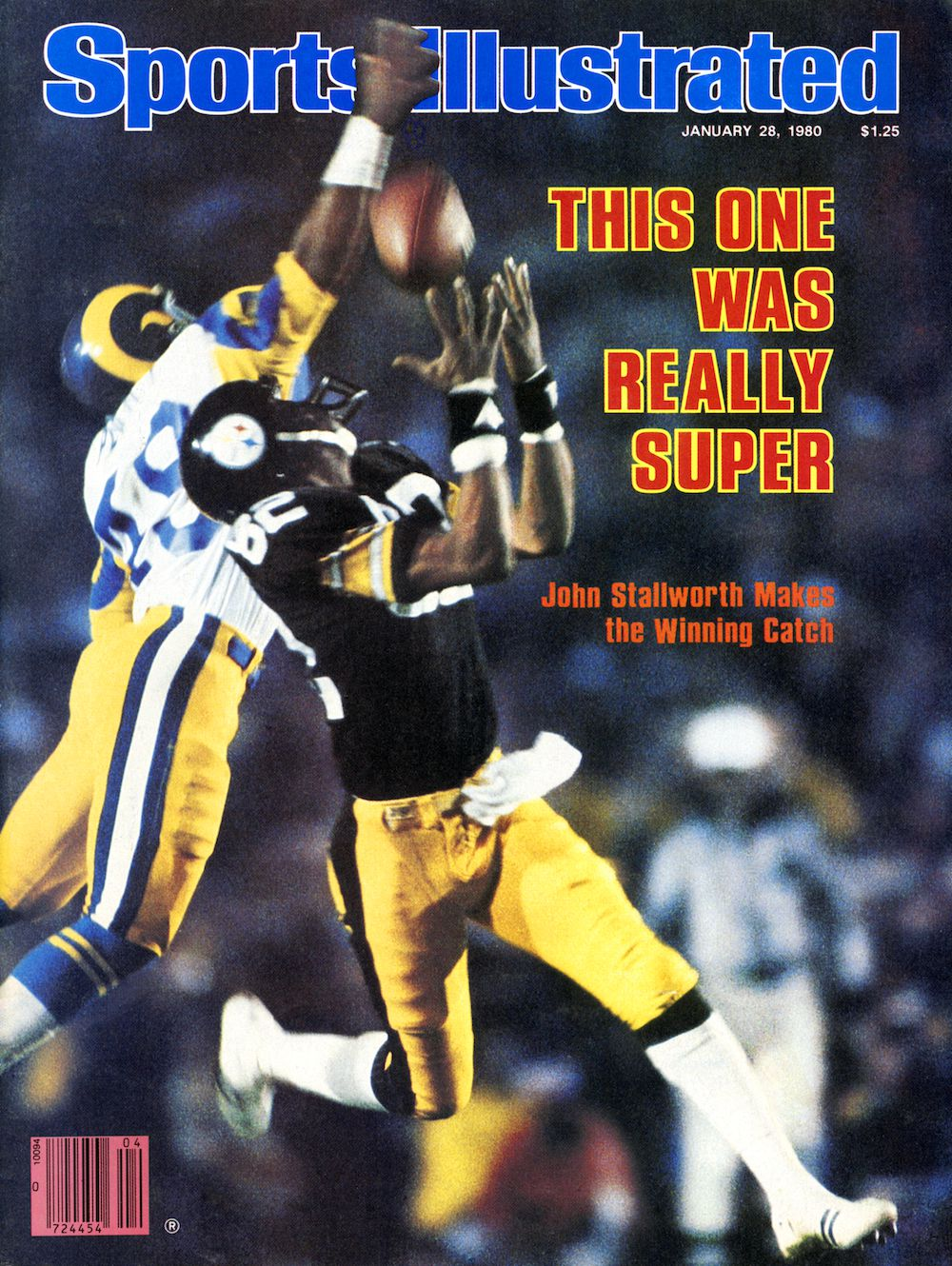 January 28, 1980 Sports Illustrated Cover. Football: Super Bowl XIV. Pittsburgh Steelers John Stallworth (82) in action, making catch and scoring game winning touchdown vs Los Angeles Rams Rod Perry (49) at Rose Bowl Stadium. Pasadena, CA 1/20/1980 MANDATORY CREDIT: Walter Iooss Jr./Sports Illustrated SetNumber: X24127 TK1