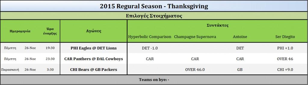2015 Thanksgiving-Picks