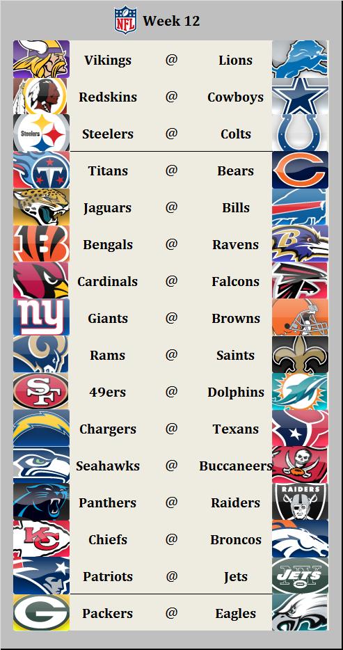 Schedule Week 12 2016
